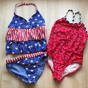 Set of 2 Girls Swim Bathing Suits Stars Red Blue 6